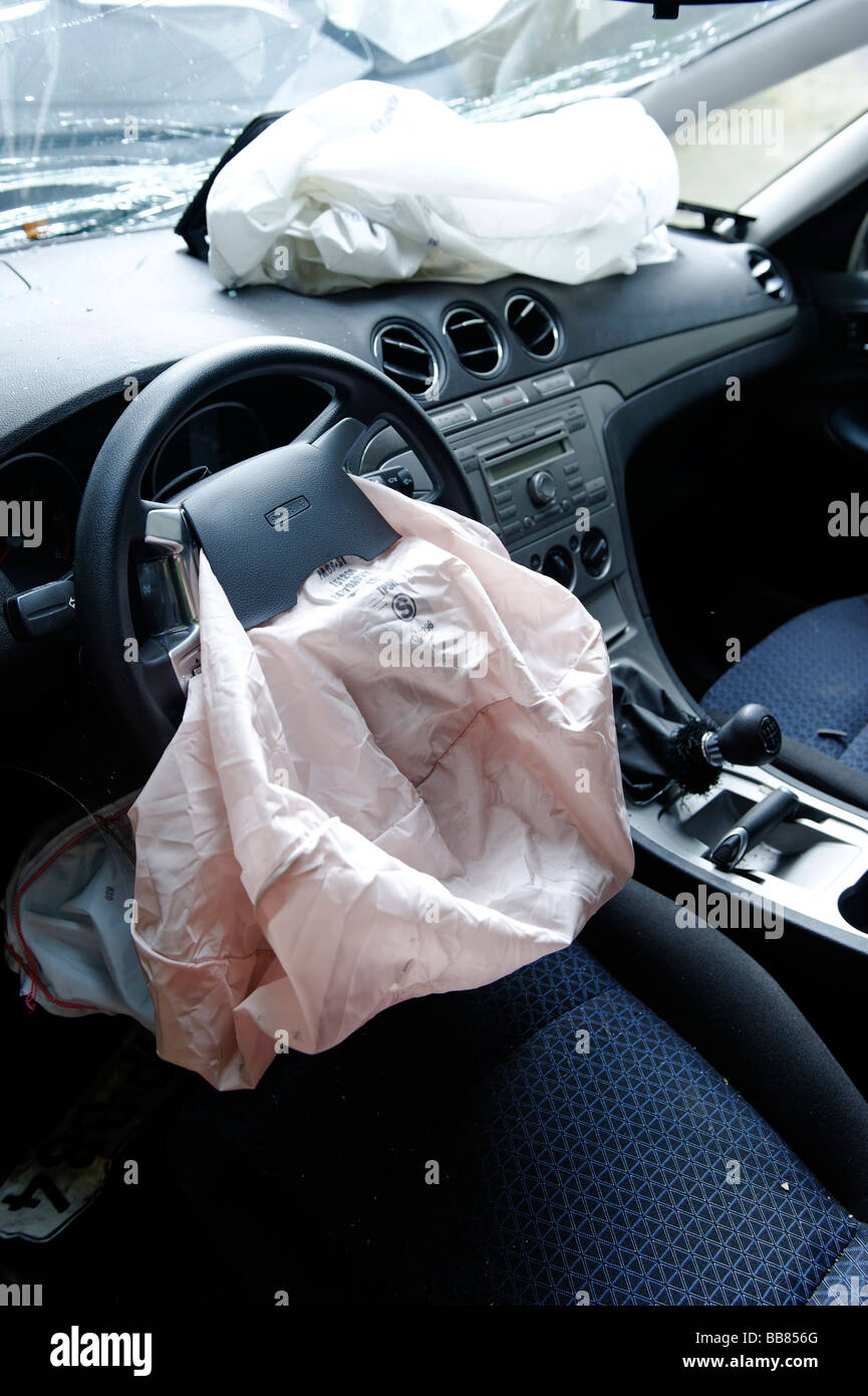 Airbags in a car following an accident Stock Photo