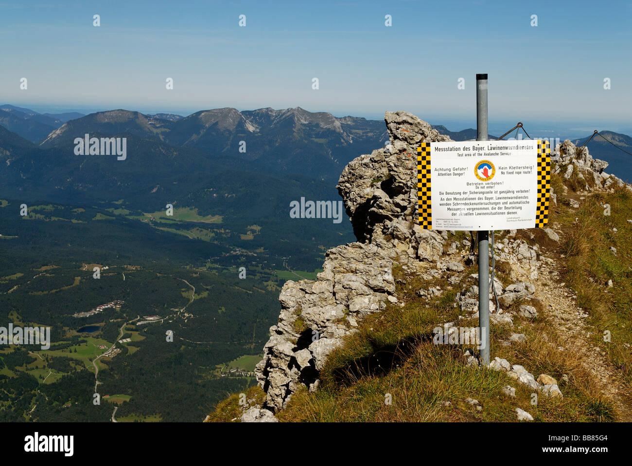 Avalanche messing area, Karwendel Nature Park, on the summit of Mt Karwendel, near Mittenwald, Upper Bavaria, Germany, - Stock Image