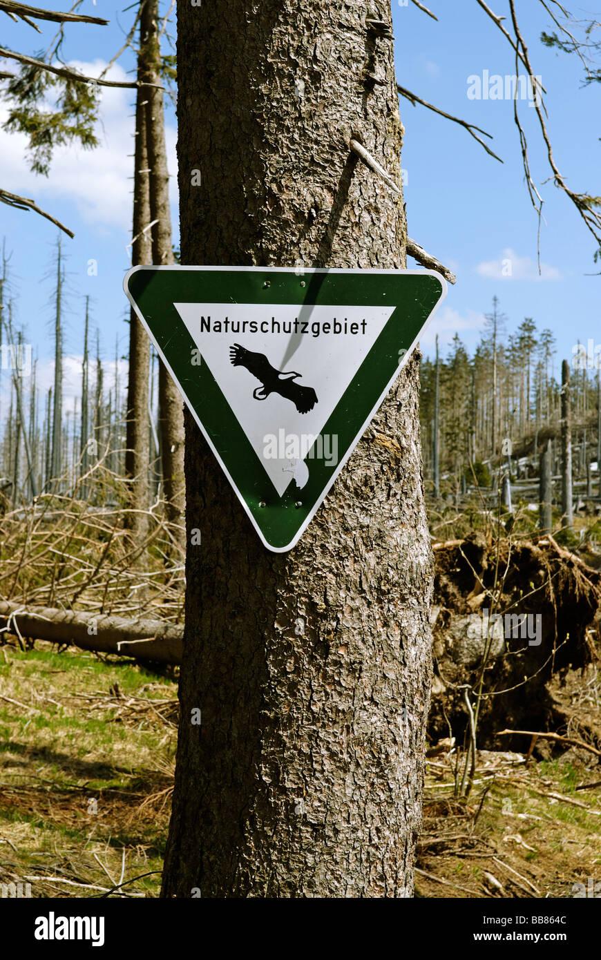 Sign Naturschutzgebiet, nature reserve, Dreisessel, Bavarian Forest, Lower Bavaria, Germany, Europe - Stock Image