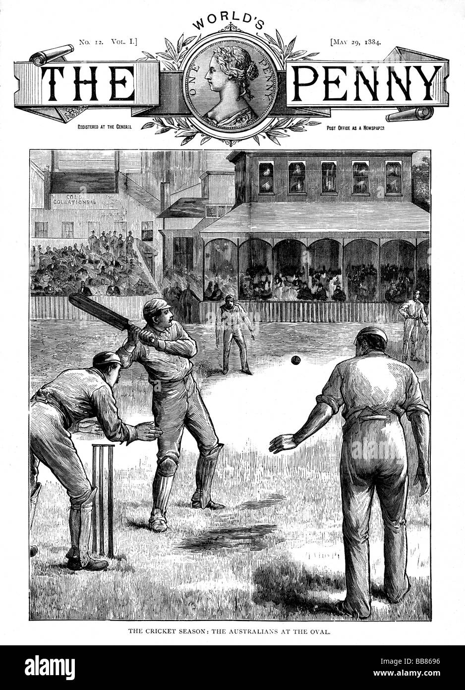 Australia At The Oval 1884 magazine cover with the touring Australian Ashes team playing Surrey in May - Stock Image