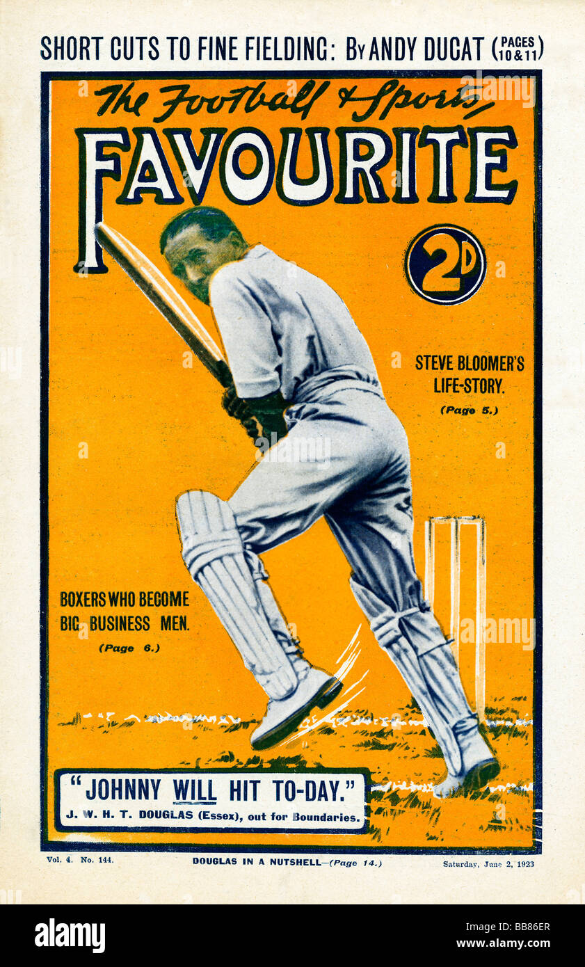 Sports Favourite Johnny Douglas 1923 magazine cover with the England cricket captain who WILL hit today - Stock Image