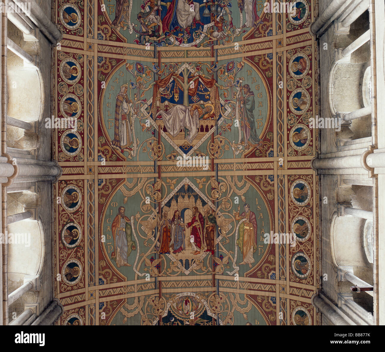 Ely Cathedral Nave Ceiling Panels - Stock Image