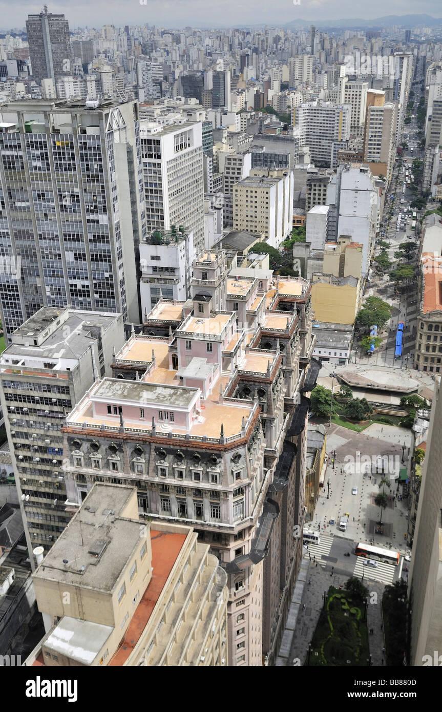 Aerial photo, view on the skyscraper Edificio Martinelli, Sao Paulo, Brazil, South America - Stock Image