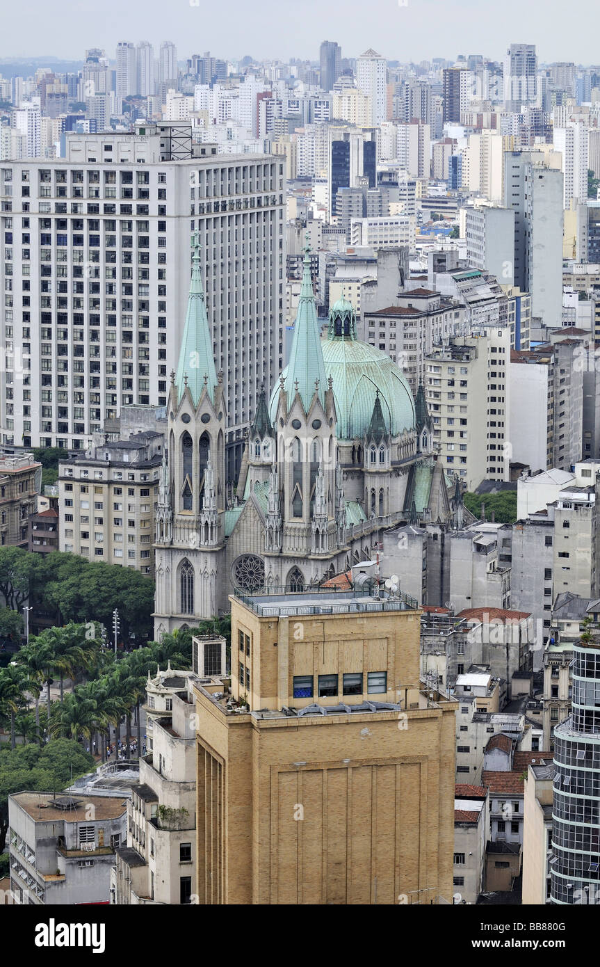 Aerial photo, view on the Cathedral da Sé, Sao Paulo, Brazil, South America - Stock Image