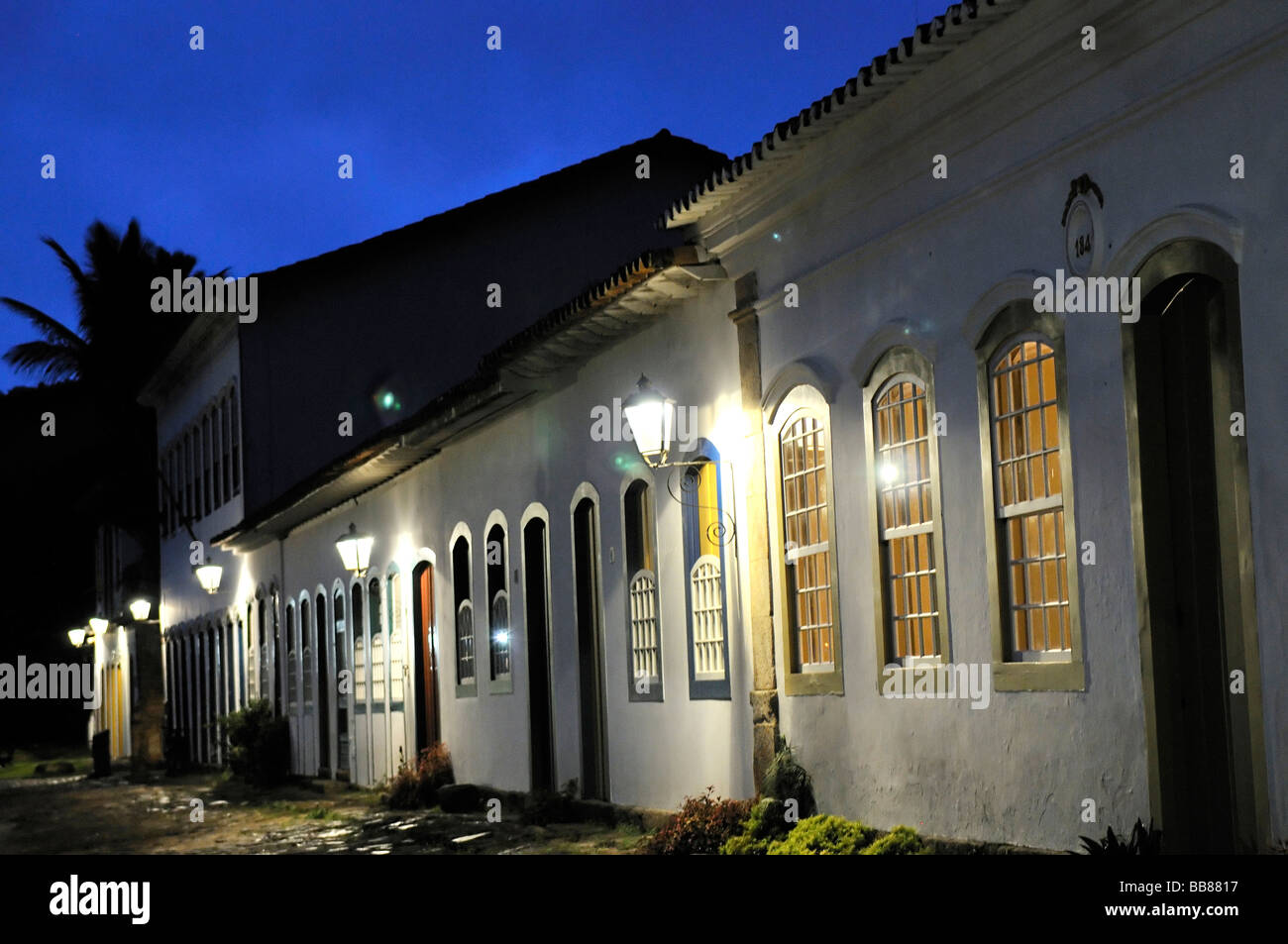 Row of houses in baroque historic city at night, Parati, Paraty, Rio de Janeiro, Brazil, South America - Stock Image