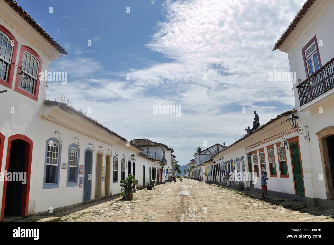 Street in the baroque historic city of Paraty, Parati, Rio de Janeiro, Brazil, South America - Stock Image
