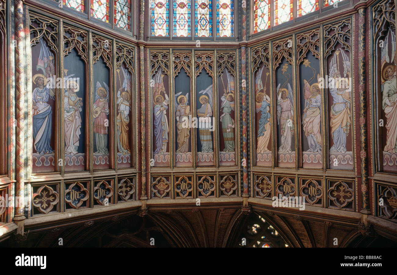 Ely Cathedral angels in panels of the Octagon - Stock Image
