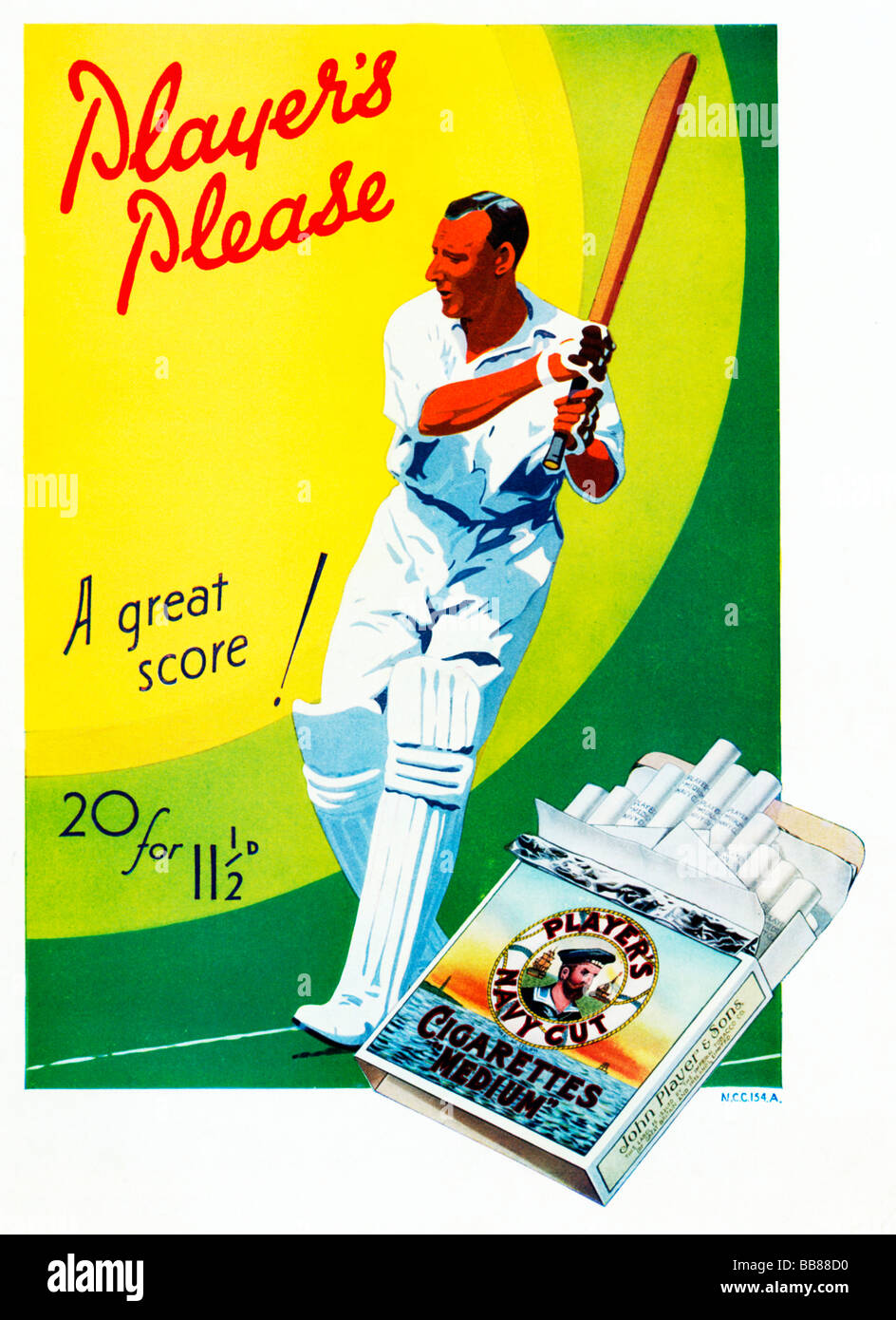 Players Please Cricket 1932 advert for the English cigarettes with a batsman cutting A Great Score - Stock Image