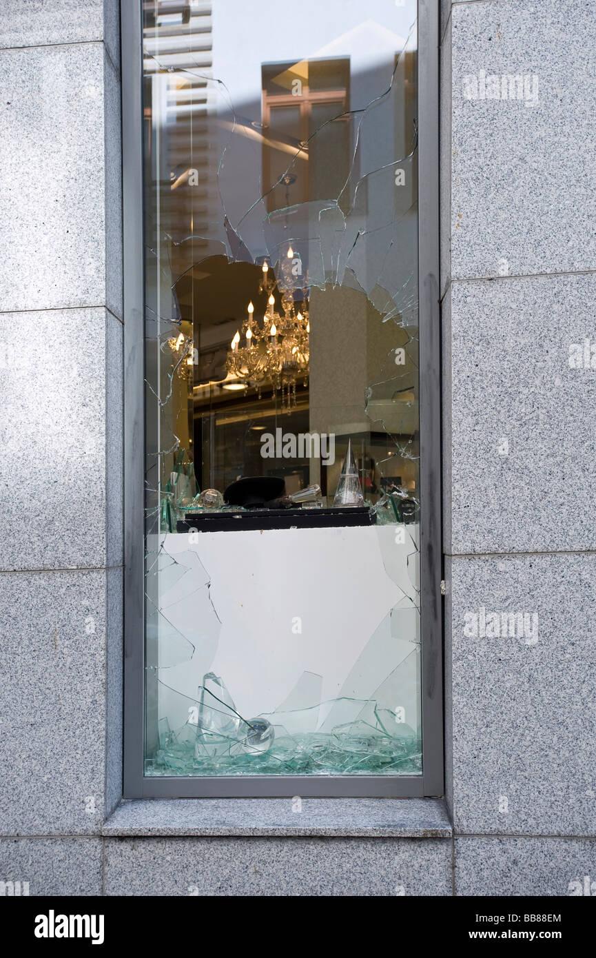 Break-in, broken display window of a jeweller's shop Stock Photo