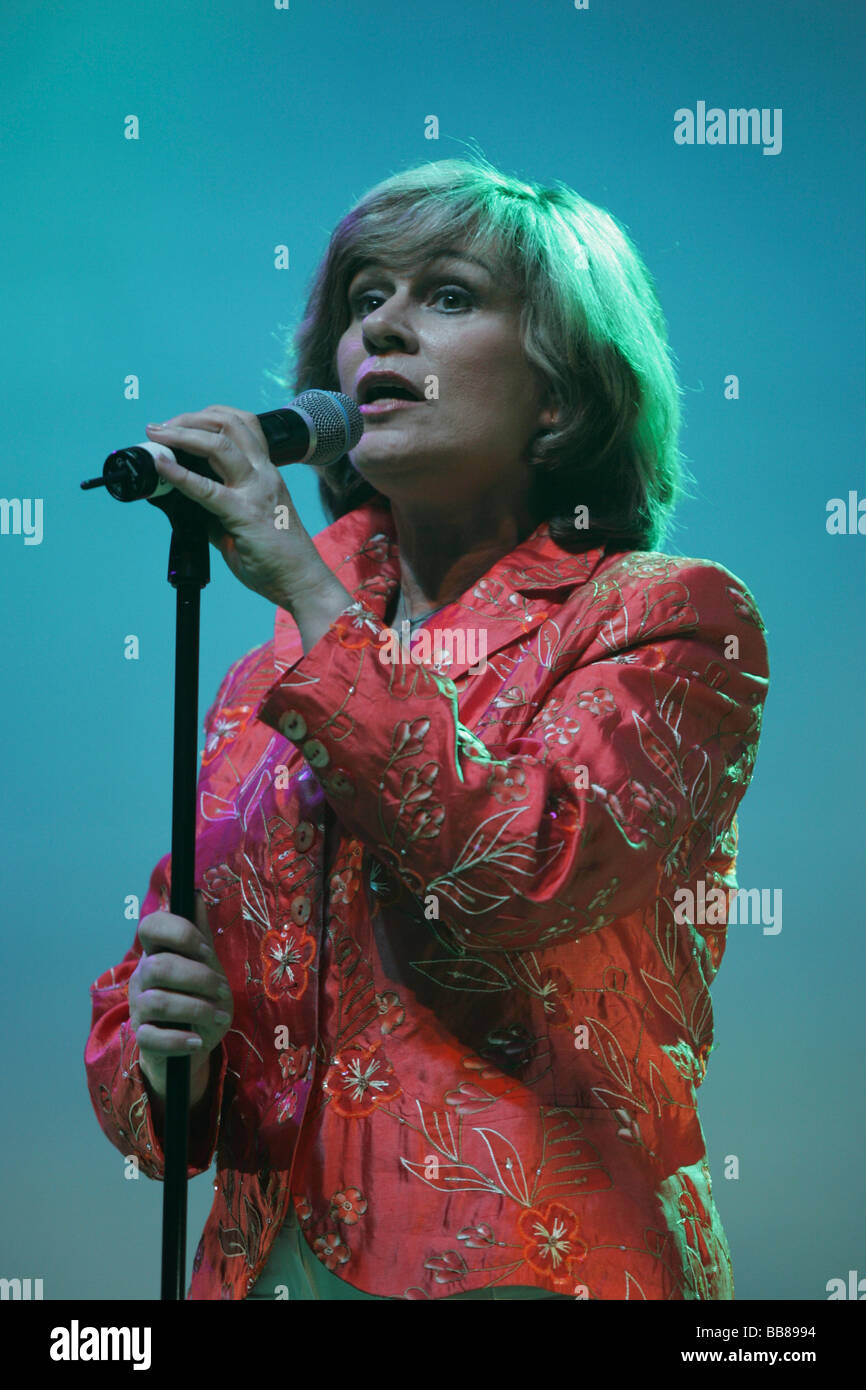 German schlager singer and actress Mary Roos performing live at Schlager-Nacht at Festhalle Allmend concert hall, Stock Photo