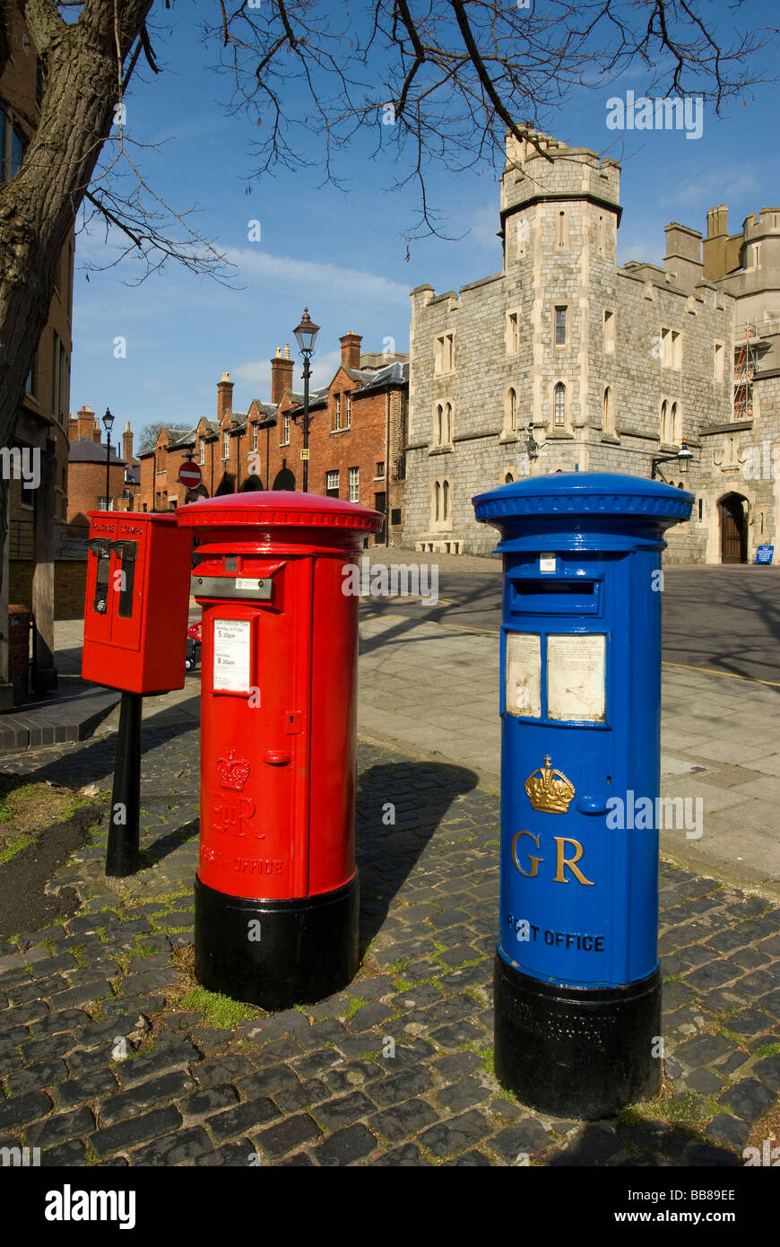 Two old post boxes, Windsor, Berkshire, UK - Stock Image