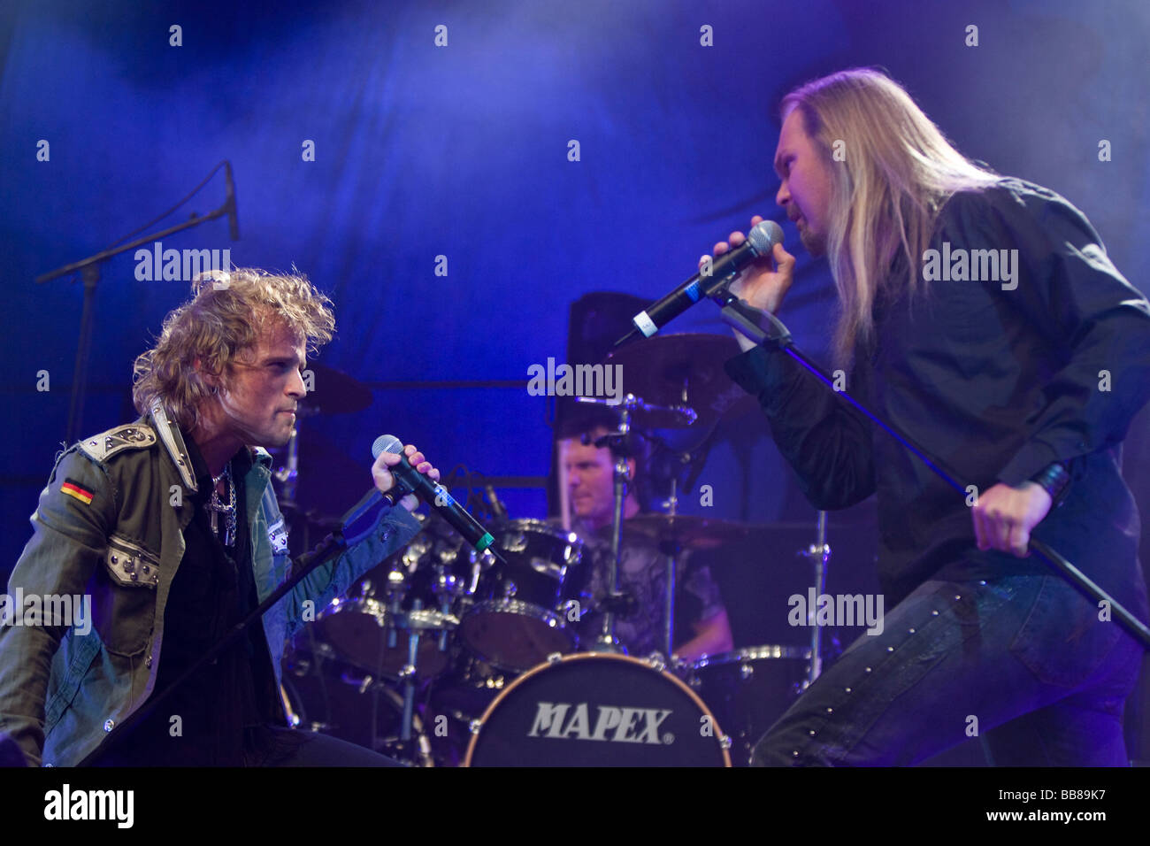 Tobias Sammet, singer and frontman, and Jorn Lande, ex-Masterplan, of the German power-metal band Avantasia, performing - Stock Image