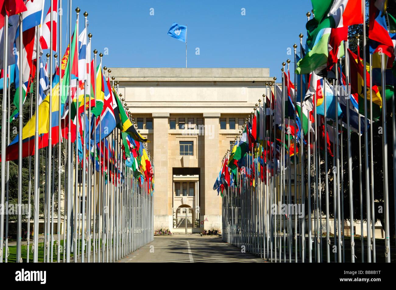 Flag complex of the United Nations, UN, Palais des Nations, Geneva, Switzerland - Stock Image