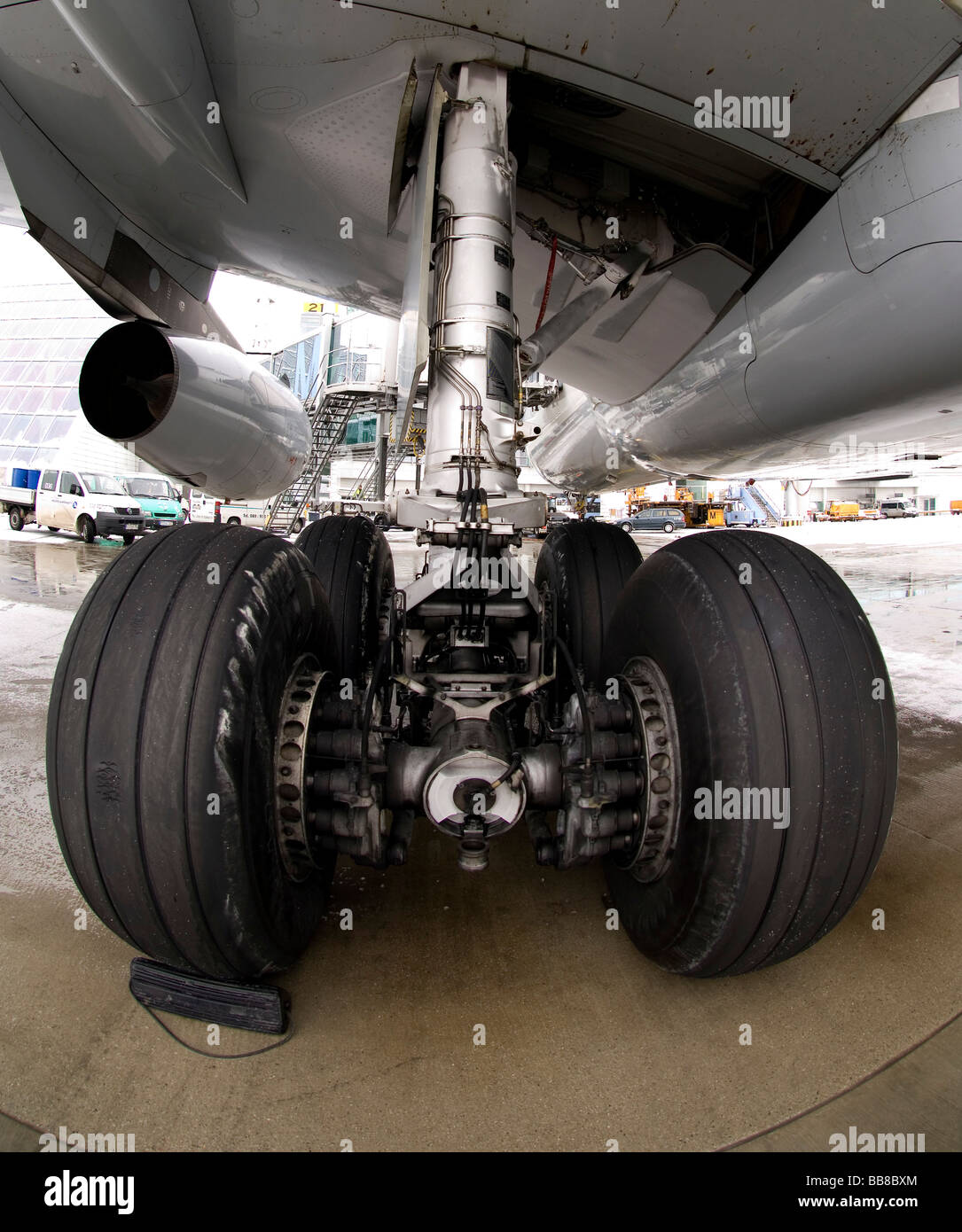 Undercarriage of an airplane - Stock Image