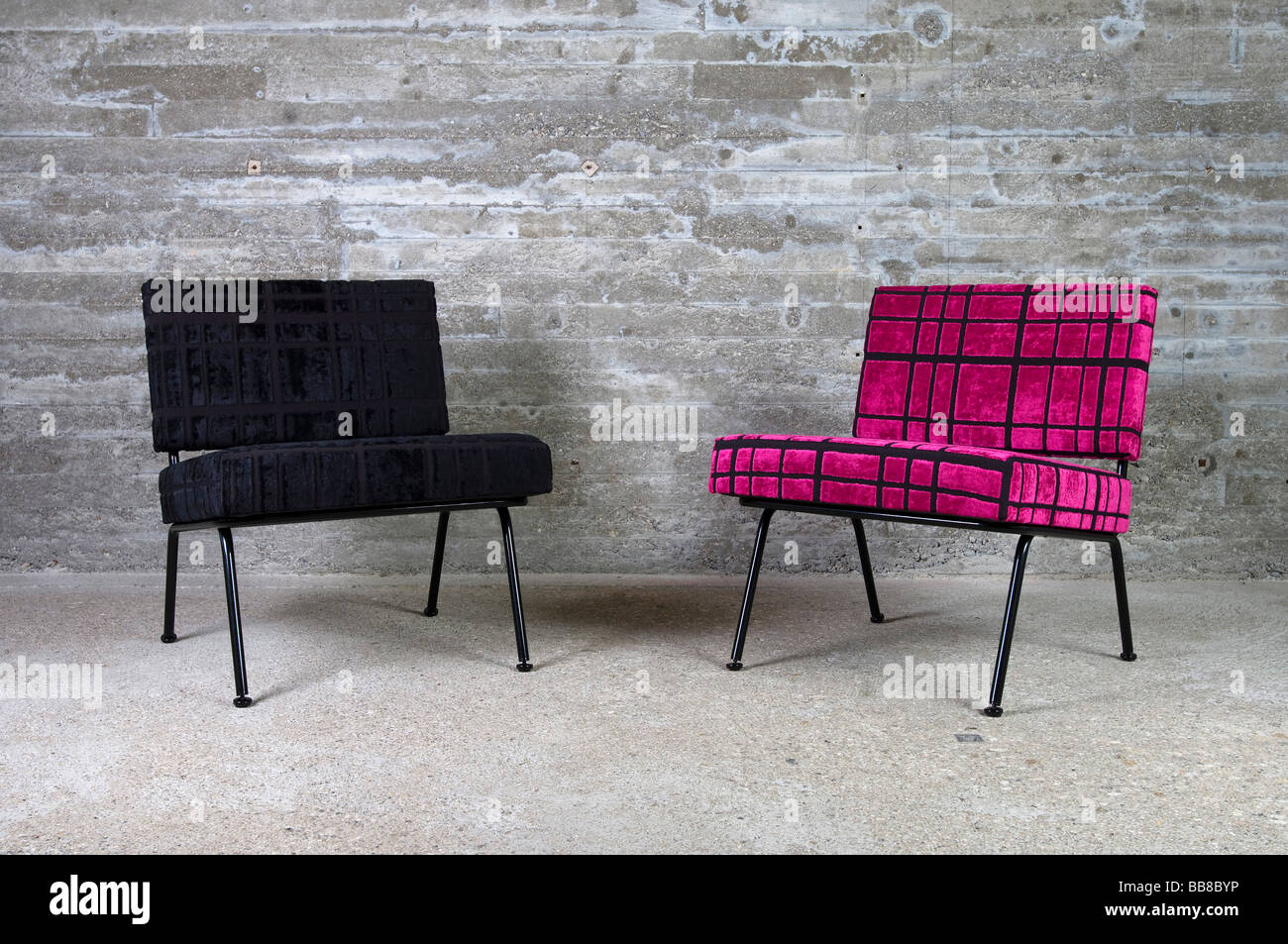 Two upholstered armchairs - Stock Image