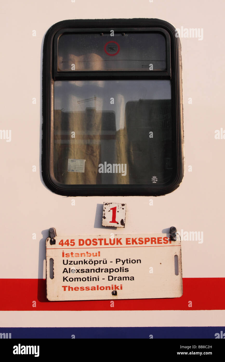 Istanbul Turkey TCDD Turkish State Railways train coach carriage at Sirkeci railway station showing destination - Stock Image