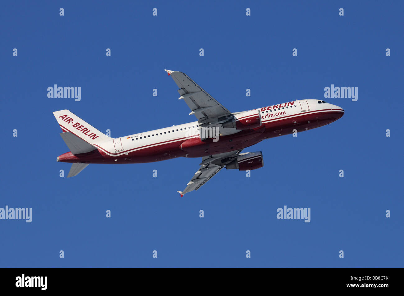 Commercial aircraft, Air Berlin Airbus, A320-200, climbing against a blue sky - Stock Image