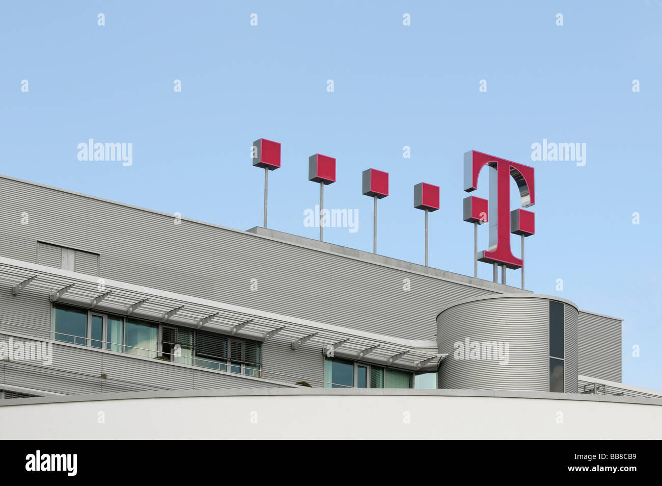 German Telecom, magenta logo at frontage of the head office in Bonn, North Rhine-Westphalia, Germany, Europe Stock Photo