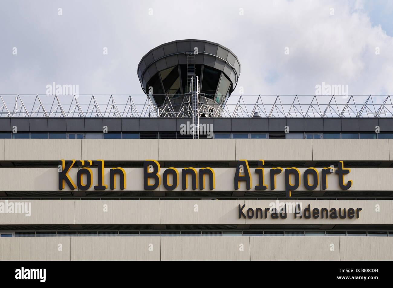 Tower and main building with writing, passenger airport, Cologne Bonn Airport Konrad Adenauer, North Rhine-Westphalia, Germany Stock Photo