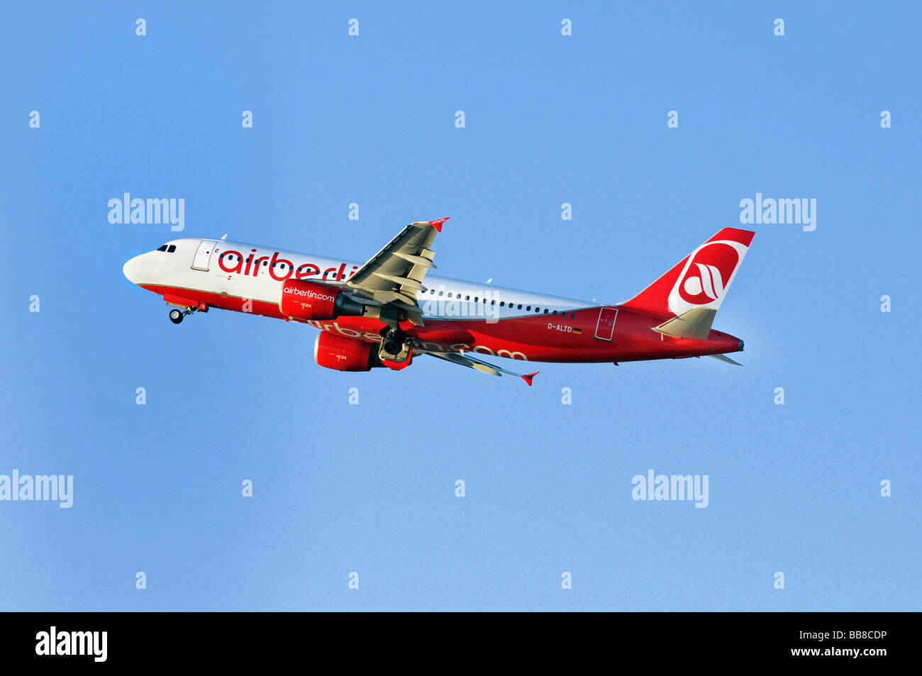 Airbus A320-214, airplane of Airberlin in climb flight, airberlin.com - Stock Image