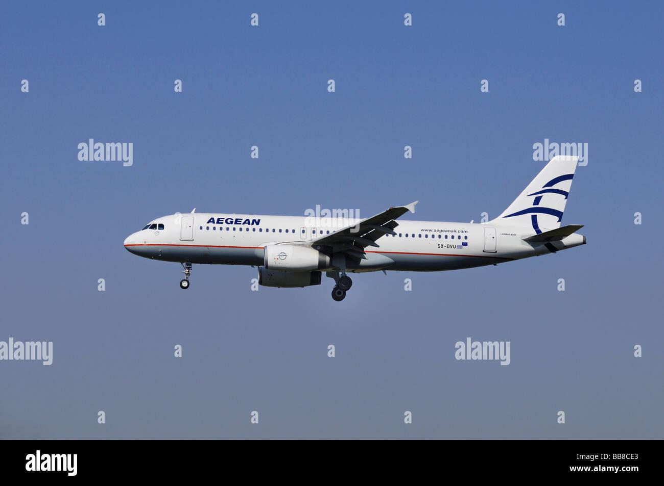 Airbus A 320, airplane of Aegean Air, Greek Airline Aegean Airways - Stock Image