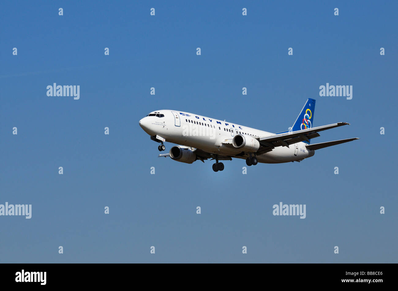 Boeing 737-400, airplane of Olympic Airlines, Greek national airline - Stock Image