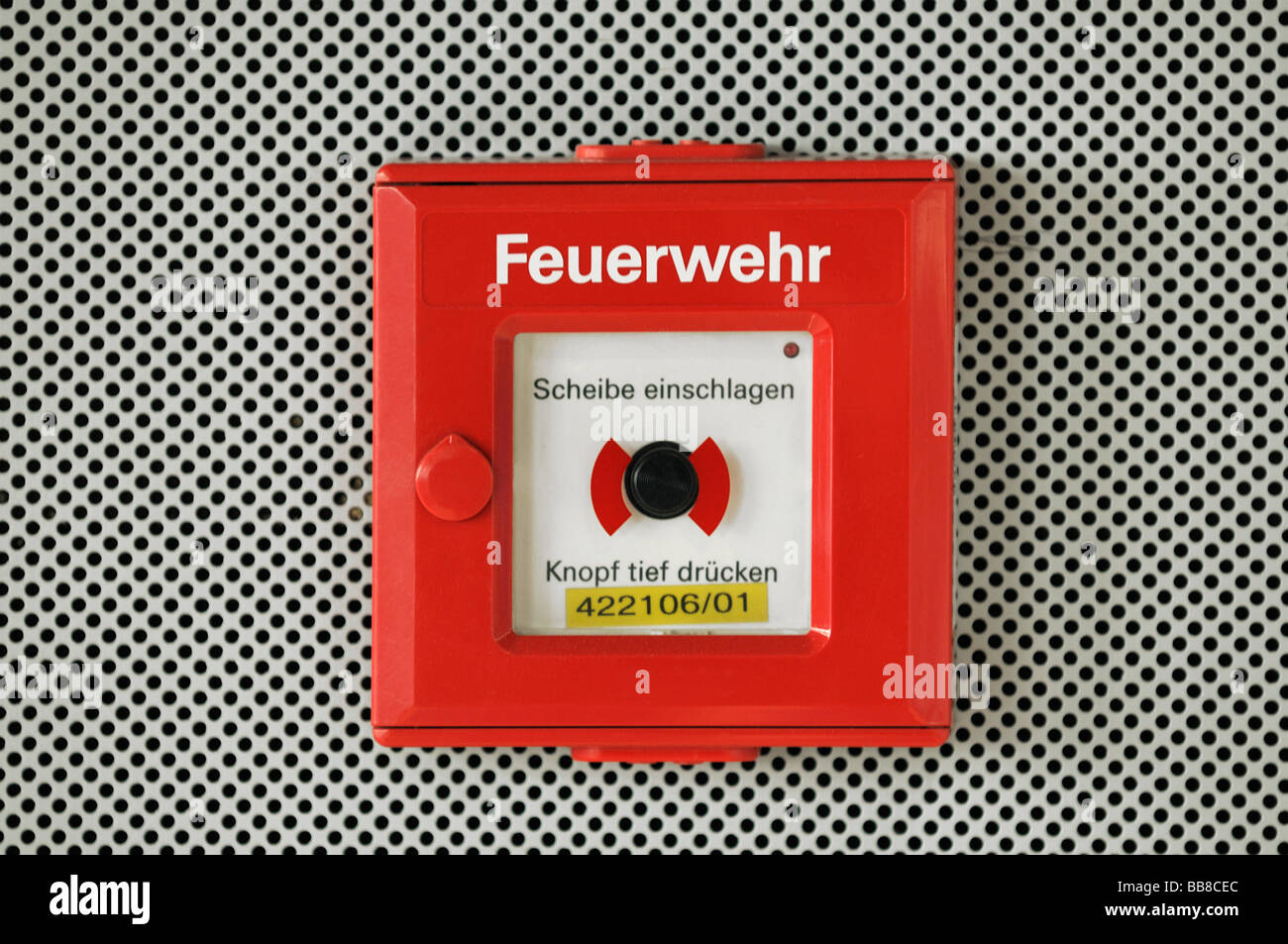 Fire brigade emergency button in red box, smash glass in case of emergency - Stock Image