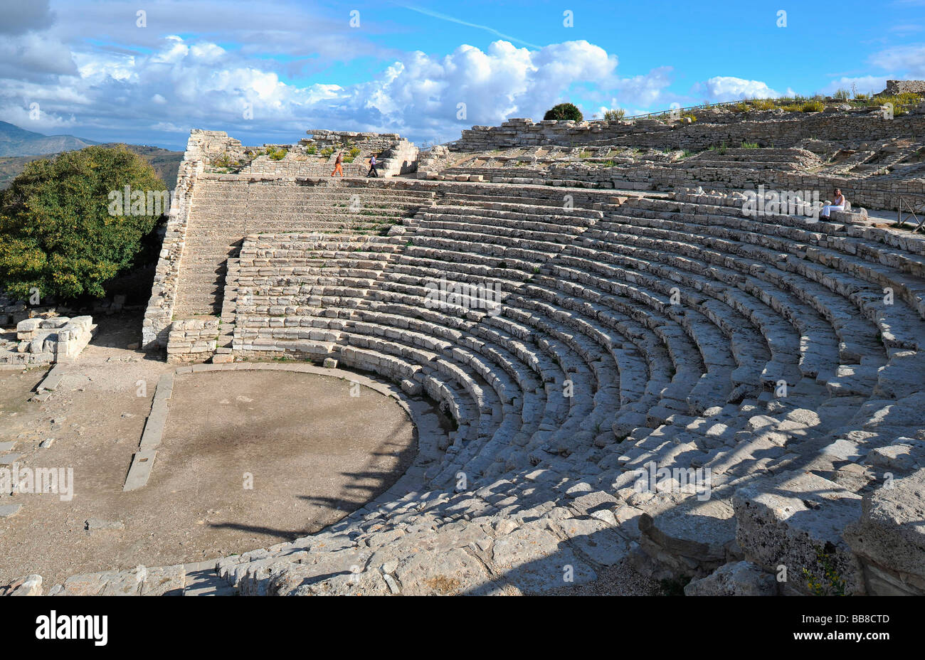 Greek theater, 3rd cent. BC at the temple of Segesta, Syracuse, Sicily, Italy Stock Photo