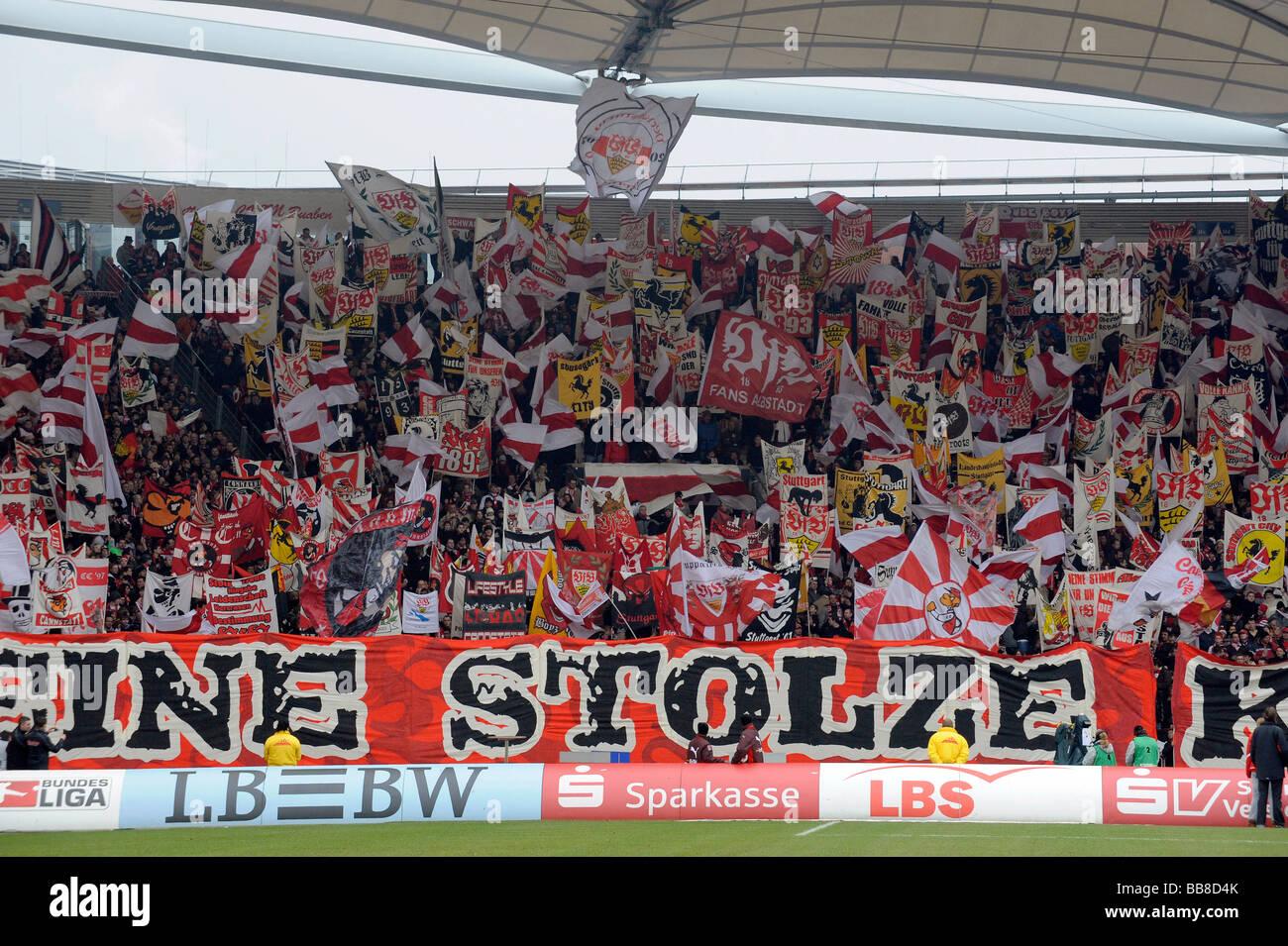 Sea of flags at the corner full of VfB Stuttgart fans, Mercedes-Benz Arena Stuttgart, Baden-Wuerttemberg, Germany, Stock Photo