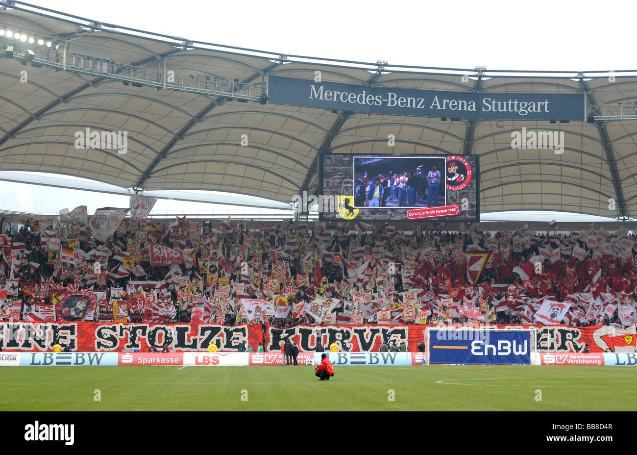 Sea of flags at the corner full of VfB Stuttgart fans, Mercedes-Benz Arena Stuttgart, Baden-Wuerttemberg, Germany, Stock Photo