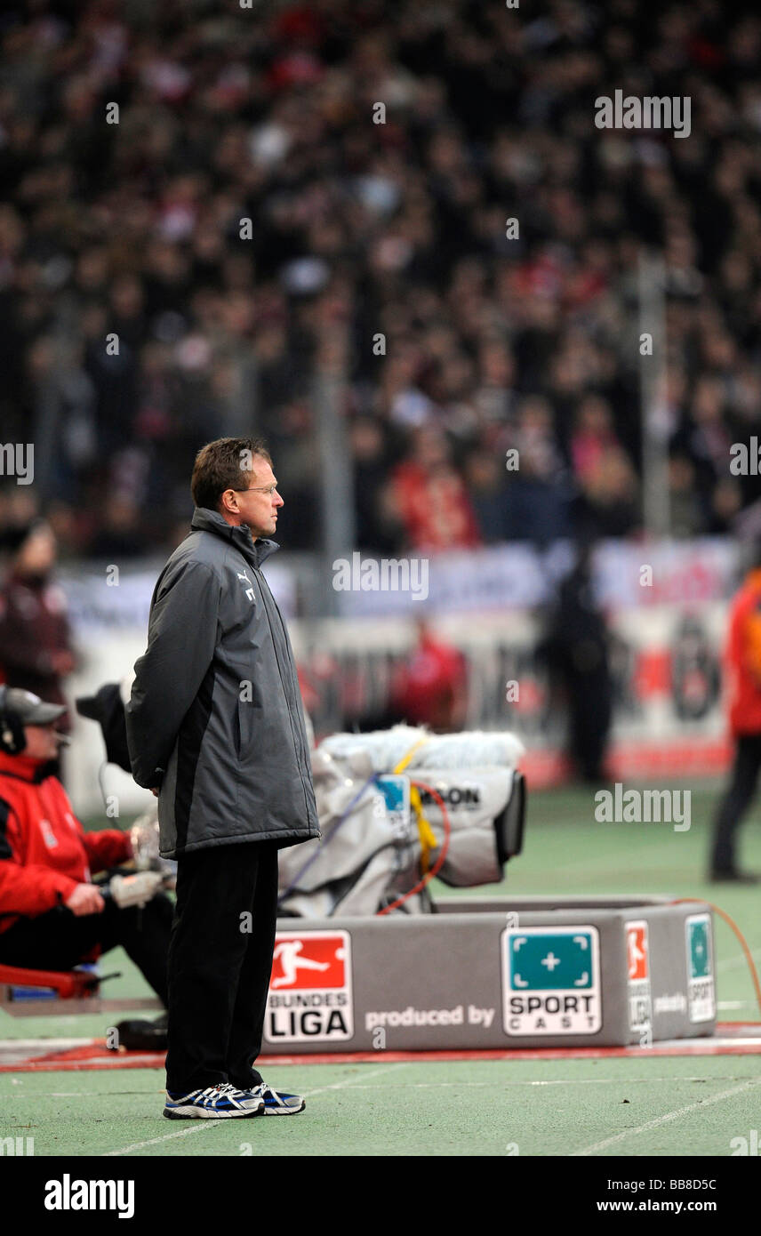 Ralf Rangnick, coach of TSG 1899 Hoffenheim, standing at the sideline - Stock Image
