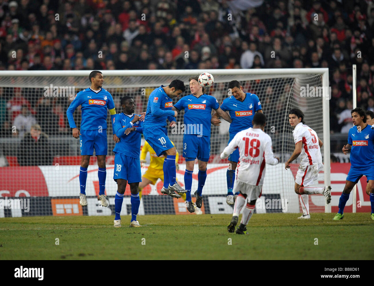 Penalty kick by Cacau, VfB Stuttgart, from left to right, Isaac Vorsah, Boubacar Sanogo, Selim Teber, Matthias Jessle, - Stock Image