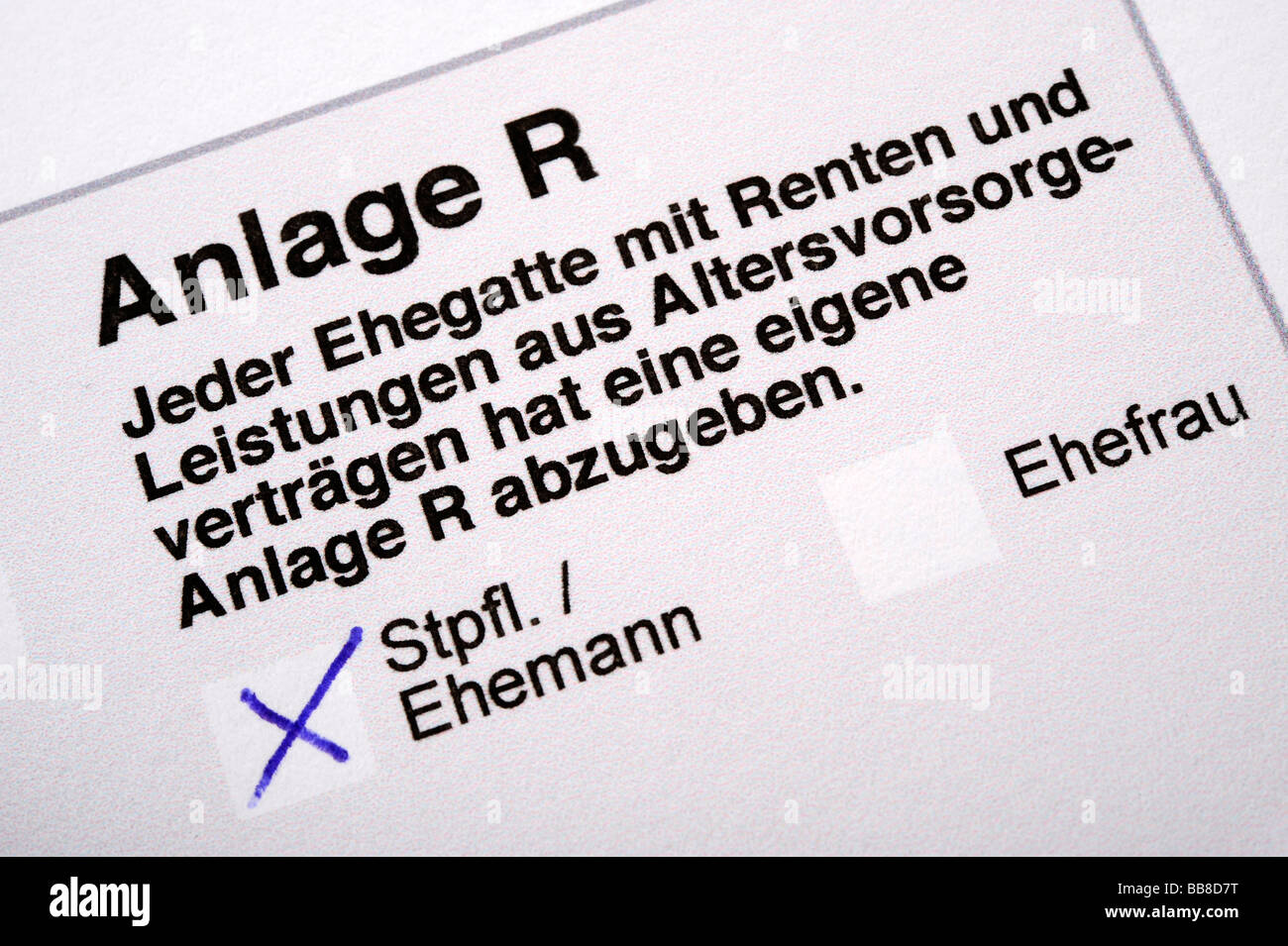 German income tax form, Anlage R for pensions and pension plan - Stock Image