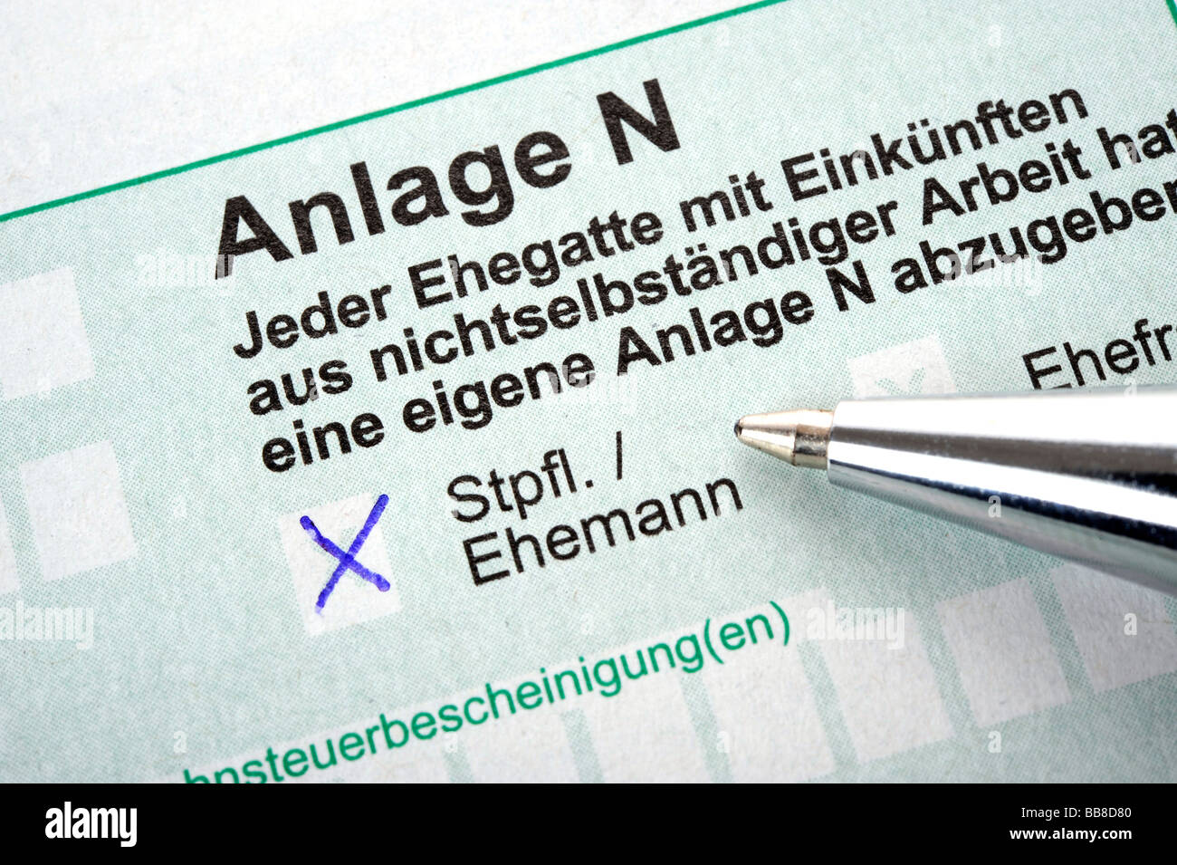 German income tax form, Anlage N for income from dependent work - Stock Image