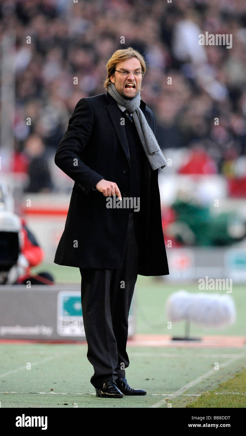 Coach Juergen Klopp, BVB Borussia Dortmund, angry at the sidelines - Stock Image
