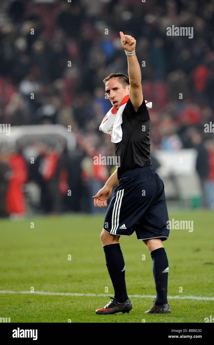 Franck Ribery, international football player, FC Bayern Munich, striking a victory pose - Stock Image