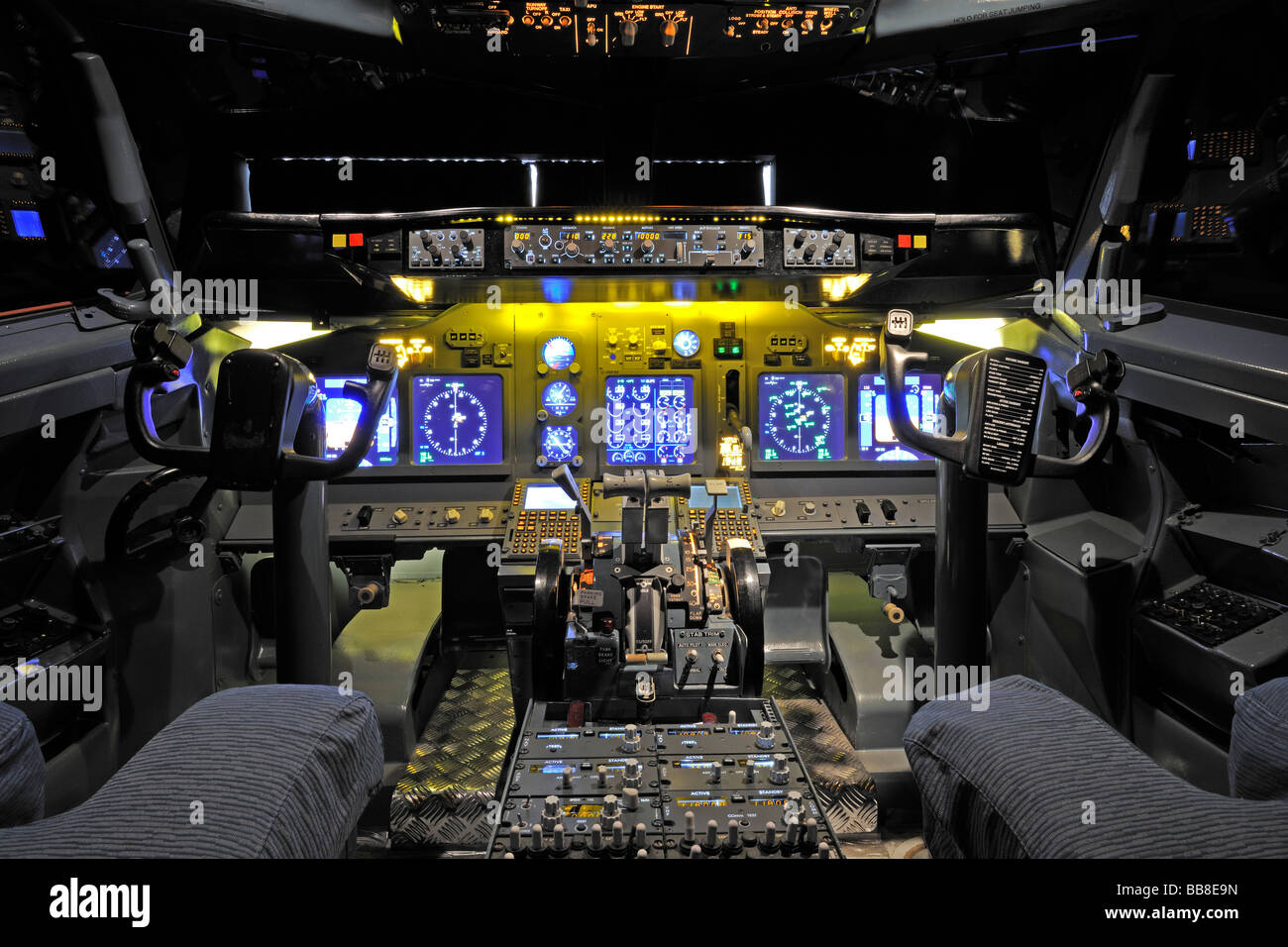 View Of The Cockpit Of A Boeing 737 700 In A Flight