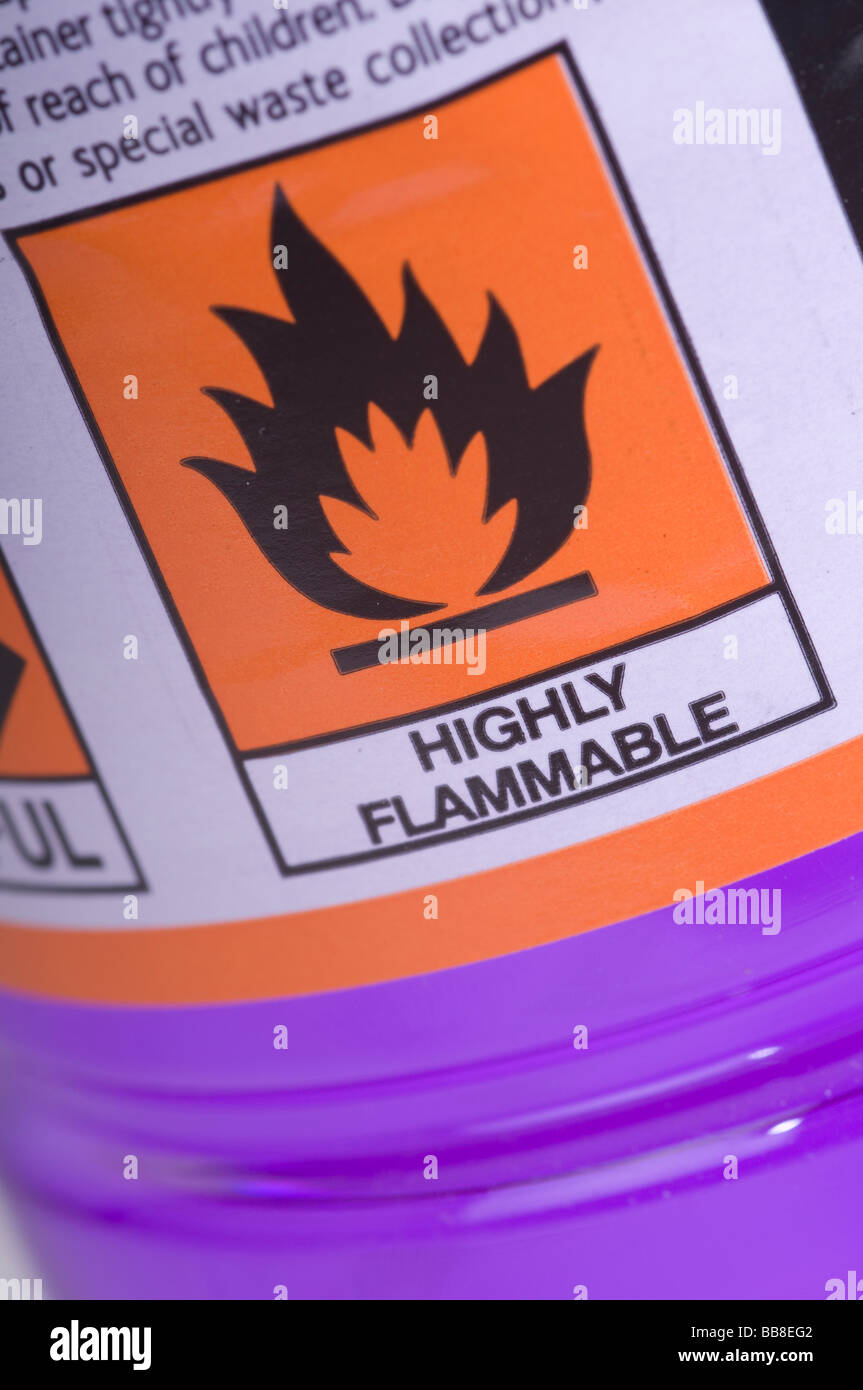 Highly flammable logo on a plastic bottle of methylated spirits - Stock Image