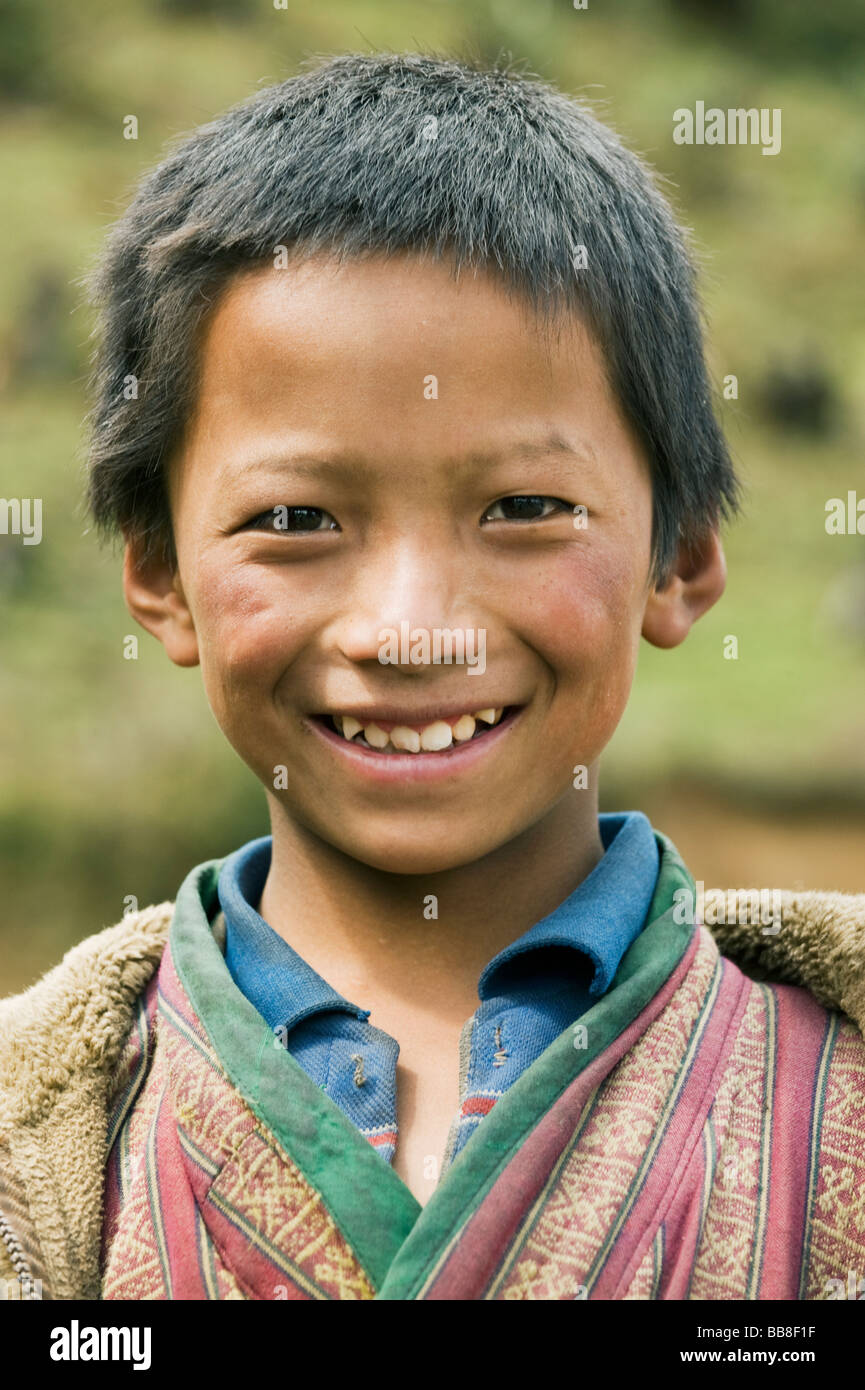 Boy from Yak-herding family, Pele La Pass, ca. 11,000 feet,  BHUTAN - Stock Image