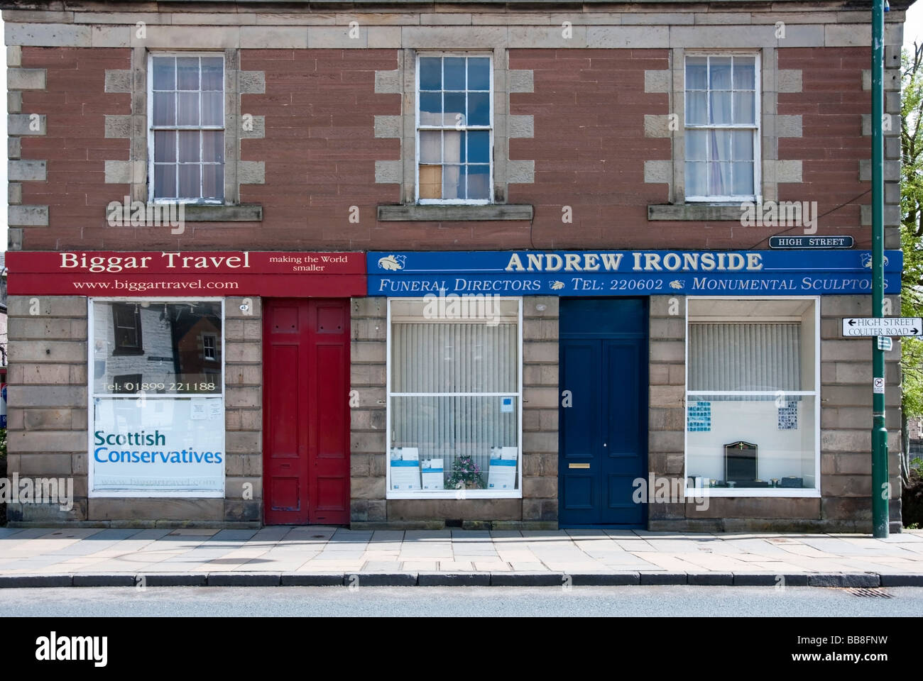 Characteristic Commercial Premises High Street Biggar - Stock Image