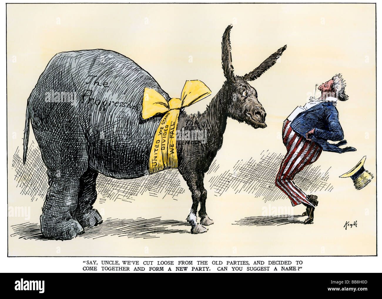 Progressive Republicans join old-fashioned Democrats to suprise Uncle Sam early 1900s. Hand-colored woodcut - Stock Image