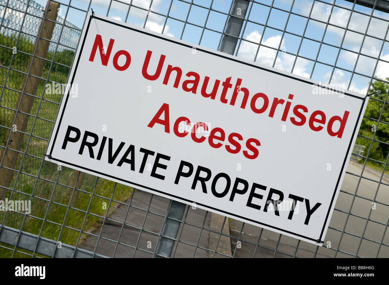 No unauthorused access Private propery sign or notice. Stock Photo