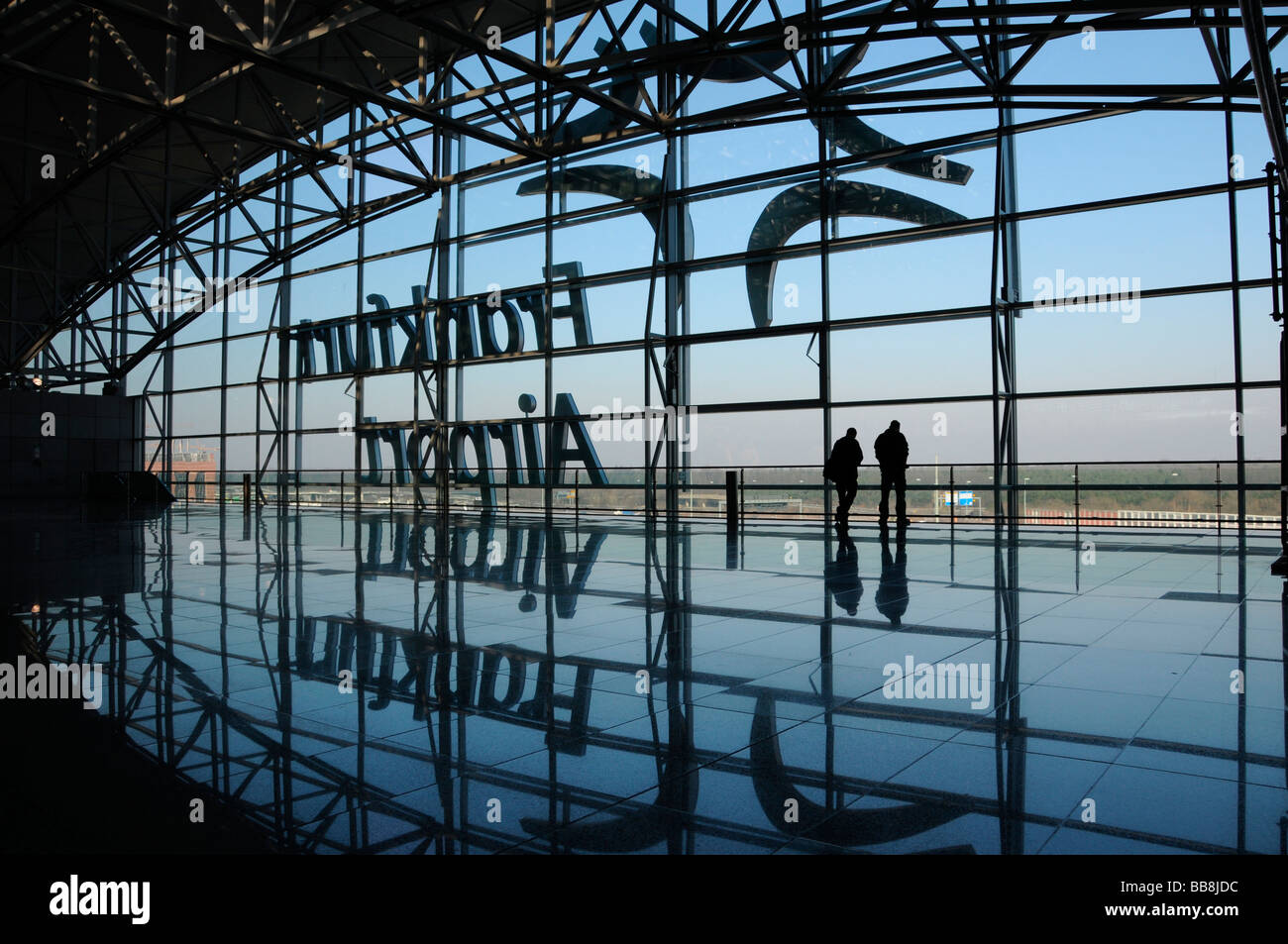 Terminal 2 at the Frankfurt airport, SkyLine level, view to the north, Frankfurt, Hesse, Germany - Stock Image