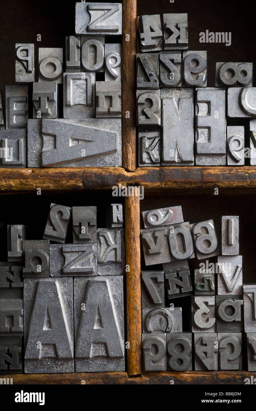 an old lead typeset in wood box - Stock Image