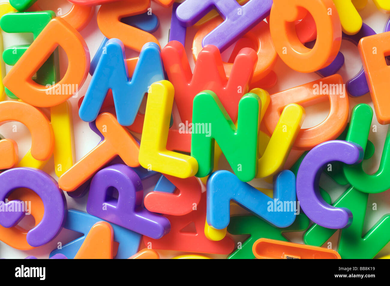 Alphabetic characters, letters, multi-coloured - Stock Image