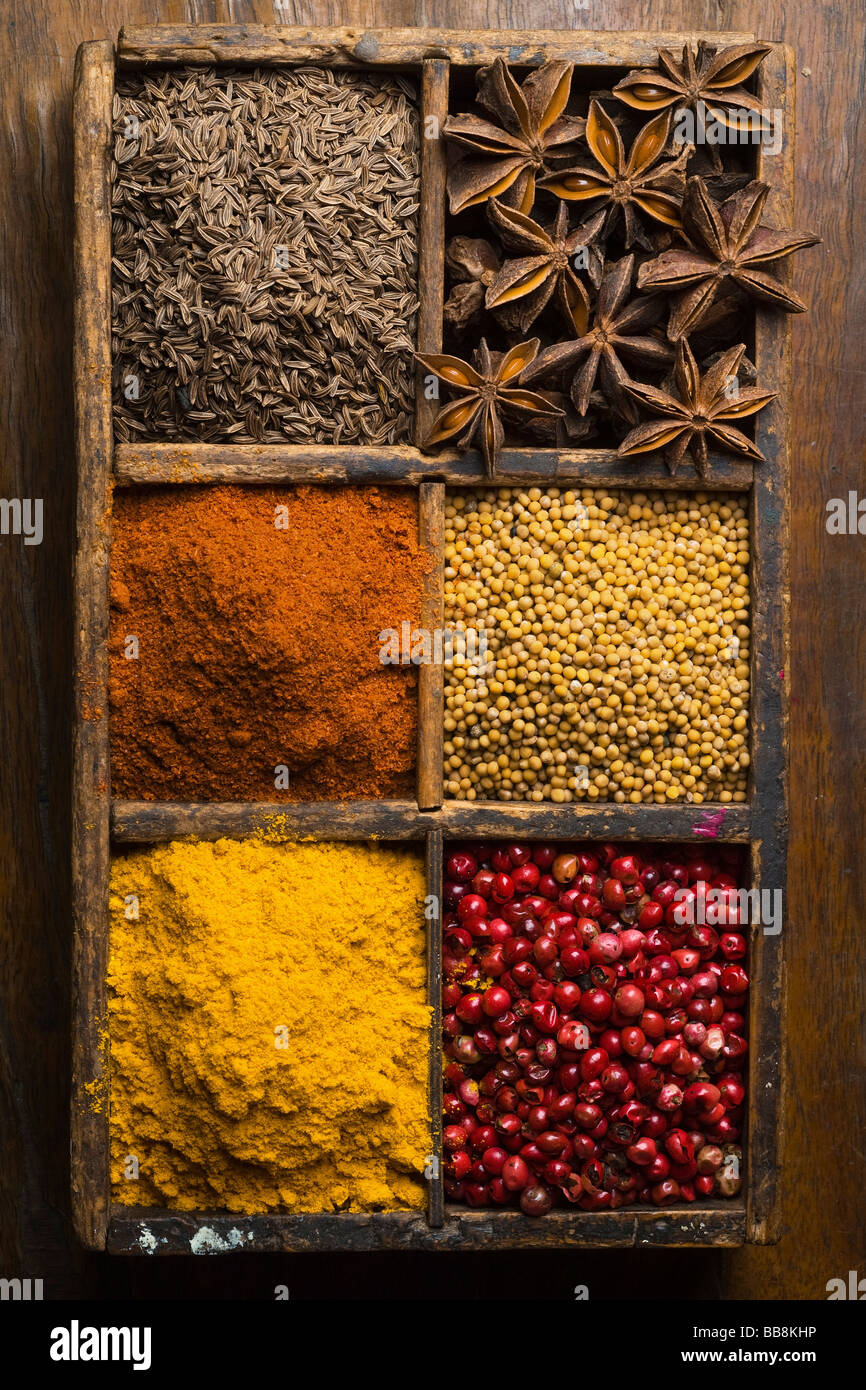 diverse spices in a wooden box peppers star anis cummin mustard seed - Stock Image