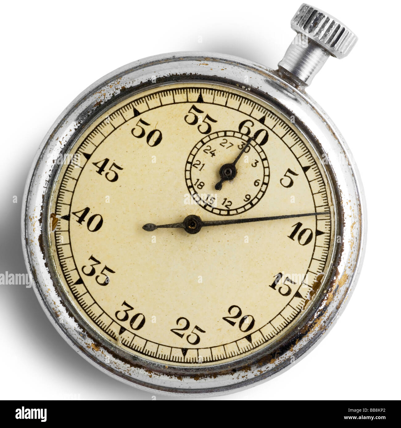 an old stopwatch on white with clipping path - Stock Image