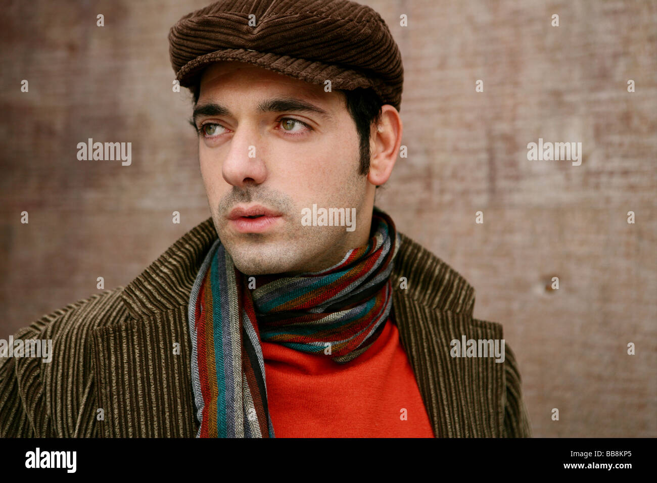 Portrait of yearning man in autumn - Stock Image
