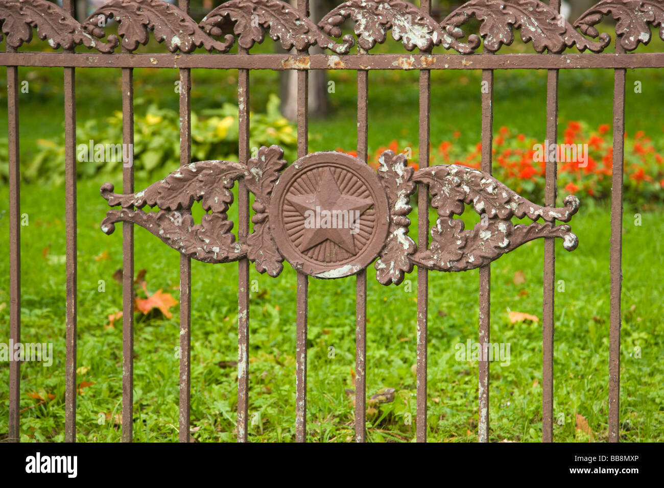 Fence near the monument to the killed in WW2, Rezekne, Latvia - Stock Image