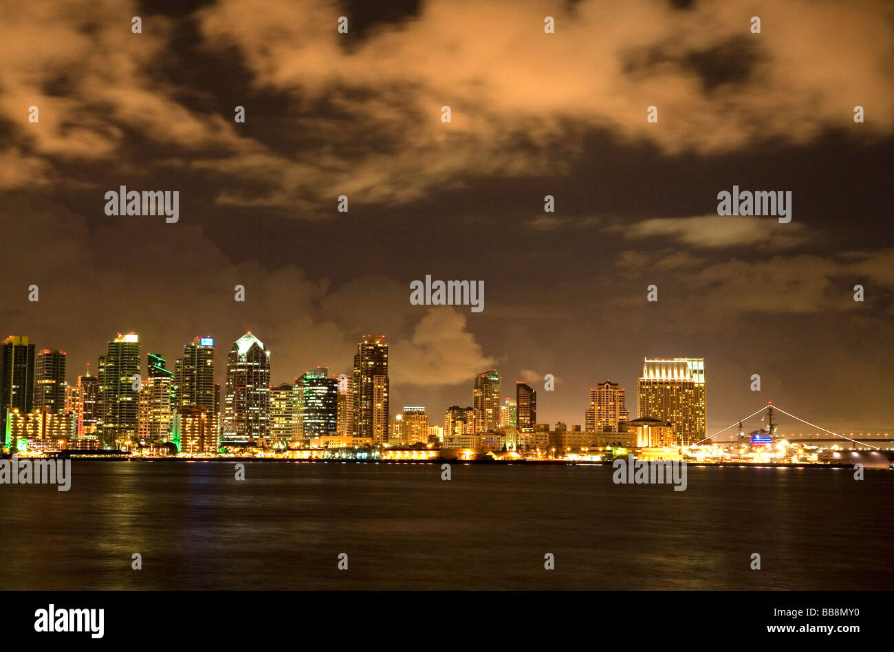 San Diego skyline at night in Southern California USA  - Stock Image